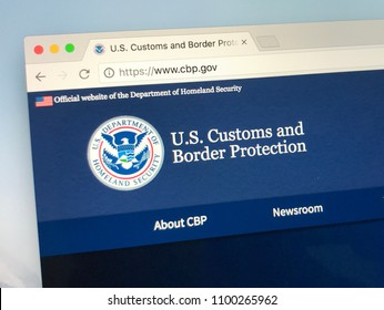 Amsterdam, Netherlands - May 28, 2018: Website of United States Customs and Border Protection (CBP).