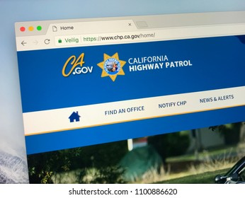 Amsterdam, Netherlands - May 28, 2018: Website of The California Highway Patrol (CHP) is a law enforcement agency of the state of California.