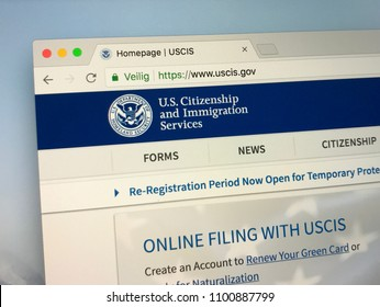 Amsterdam, Netherlands - May 28, 2018: Website of U.S. Citizenship and Immigration Services (USCIS)