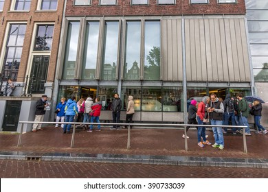 AMSTERDAM, NETHERLANDS - MAY 29, 2015: The Anne Frank House is a writer's house and biographical museum dedicated to Jewish wartime diarist Anne Frank. The building is located on the Prinsengracht.
