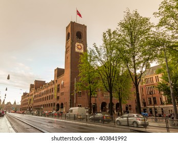 AMSTERDAM, NETHERLANDS - MAY 29, 2015: The Beurs van Berlage is a building on the Damrak, in the centre of Amsterdam. It was designed as a commodity exchange by architect Hendrik Petrus Berlage.