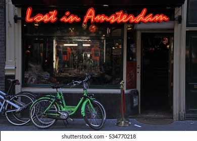 AMSTERDAM, NETHERLANDS - MAY 3, 2016: Lounge Cafe «Lost in Amsterdam» in the city center, Nieuwendijk street, in Amsterdam, the Netherlands