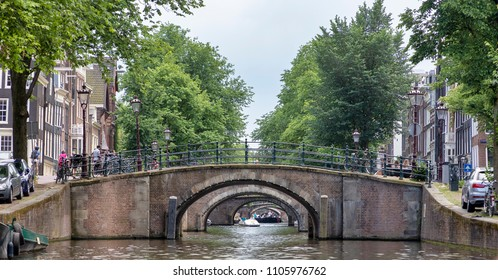 AMSTERDAM, NETHERLANDS - MAY 30, 2018: General view of the 'Canal of the Seven Bridges' from the Herengracht Canal.