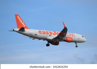 Amsterdam, the Netherlands - May 30th 2019: OE-IJI easyJet Europe Airbus A320-200 (former G-EZOE) final approaching to Polderbaan runway at Schiphol Amsterdam Airport, the Netherlands
