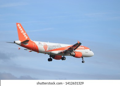 Amsterdam, the Netherlands - May 30th 2019: OE-ICF easyJet Europe Airbus A320-200 (former G-EZUH), Bordeaux Livery final approaching to Polderbaan runway at Schiphol Amsterdam Airport, the Netherlands