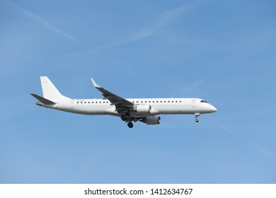 Amsterdam, the Netherlands - May 30th 2019: EI-GGA Stobart Air Embraer ERJ-195 final approaching to Polderbaan runway at Schiphol Amsterdam Airport, the Netherlands