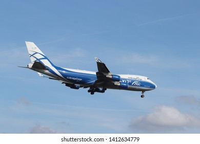 Amsterdam, the Netherlands - May 30th 2019: VP-BIK AirBridgeCargo Boeing 747-400F final approaching to Polderbaan runway at Schiphol Amsterdam Airport, the Netherlands