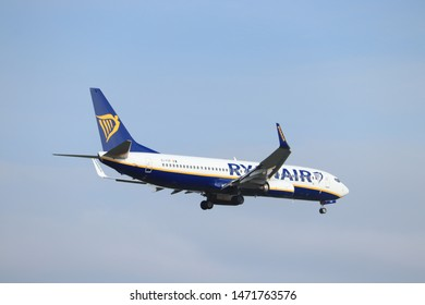 Amsterdam, the Netherlands - May 30th 2019: EI-FOF Ryanair Boeing 737-800 final approaching to Polderbaan runway at Schiphol Amsterdam Airport, the Netherlands