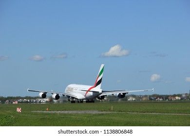 Amsterdam the Netherlands - May 3rd 2018: A6-EDI Emirates Airbus A380-800 takeoff from Polderbaan runway, Amsterdam Airport Schiphol