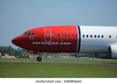 Amsterdam the Netherlands - May 4th 2018: LN-NGU Norwegian Air Shuttle Boeing 737-800 takeoff from Polderbaan runway, Amsterdam Airport Schiphol