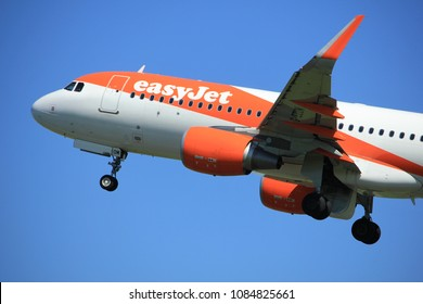 Amsterdam the Netherlands - May 4th 2018: G-EZOM easyJet Airbus A320-200  takeoff from Polderbaan runway, Amsterdam Airport Schiphol