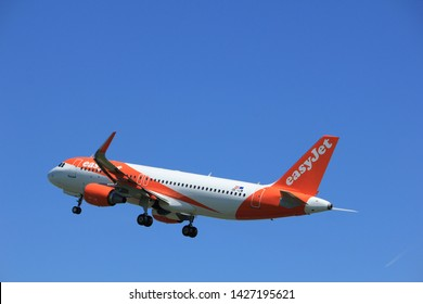 Amsterdam the Netherlands - May 4th 2018: OE-IJW easyJet Europe Airbus A320-200 takeoff from Polderbaan runway, Amsterdam Airport Schiphol