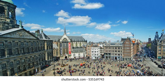 AMSTERDAM, NETHERLANDS - MAY 5, 2015: Dam Square, Panoramic top view