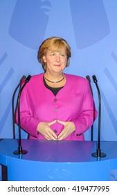 AMSTERDAM, NETHERLANDS - May 5, 2016: Angela Merkel, German cancelloe,  model  at the Amsterdam Madame Tussauds wax museum.