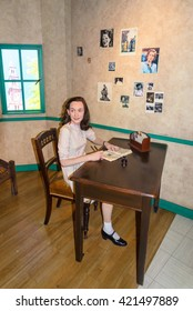AMSTERDAM, NETHERLANDS - May 5, 2016: Anne Frank Figurine At Madame Tussauds Wax Museum.
