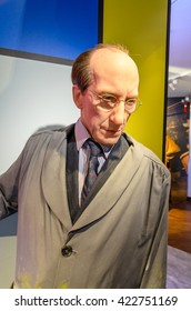 AMSTERDAM, NETHERLANDS - May 5, 2016:  the wax figur of Piet Mondriaan, the painter, in Madame Tussauds museum in Amsterdam.