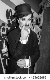AMSTERDAM, NETHERLANDS - May 5, 2016:  the wax figur of Charlie Chaplin, the actor, in Madame Tussauds museum in Amsterdam.