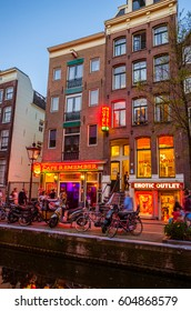 AMSTERDAM, NETHERLANDS - MAY 5, 2016: Night wiev of Red light district in Amsterdam, Netherlands