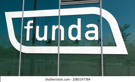 Amsterdam, Netherlands -may 6, 2018: letters funda on the headquarter of funda in Amsterdam
