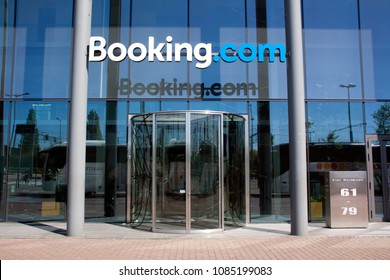 Amsterdam, Netherlands -may 6, 2018: office of booking.com in the Netherlands