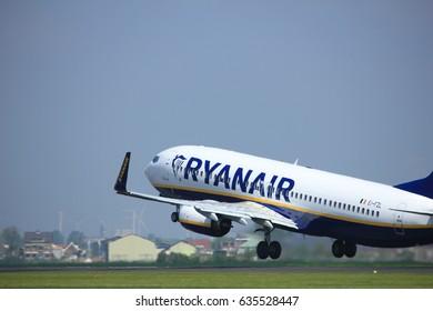 Amsterdam the Netherlands - May 6th, 2017: EI-FZL Ryanair Boeing 737-800 takeoff from Polderbaan runway, Amsterdam Schiphol Airport