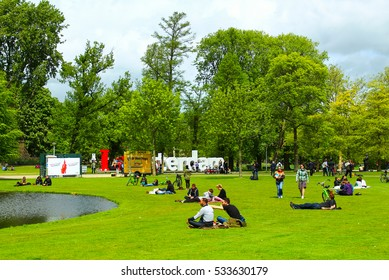 Amsterdam, Netherlands - May 7, 2014:  Vondelpark favorite place for rest and walking residents and tourists.