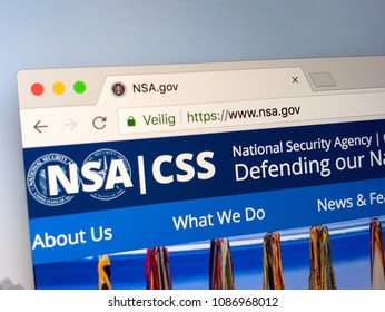 Amsterdam,  Netherlands - May 9, 2018: Official homepage of the NSA and CSS. NSA is the National Security Agency and CSS is the Central Security Service, two intelligence agencies of the United States