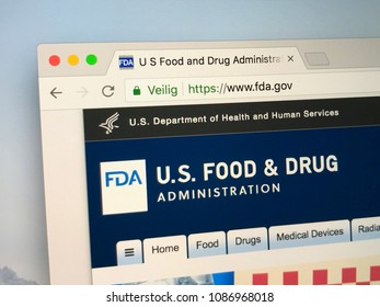 Amsterdam, The Netherlands - May 9, 2018: Official homepage of the FDA,  The Food and Drug Administration. The FDA is responsible for protecting the public health in the United States.
