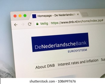 Amsterdam, The Netherlands - May 9, 2018: Official homepage of De Nederlandsche Bank (DNB), the central bank of the Netherlands. It is part of the European System of Central Banks (ESCB).
