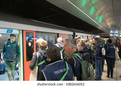 AMSTERDAM , THE NETHERLANDS – MEI 1  , 2018 :test travelers for the new north-south metro line in Amsterdam travel in the metro. Of which the official opening after years of building on 22 July 2018.