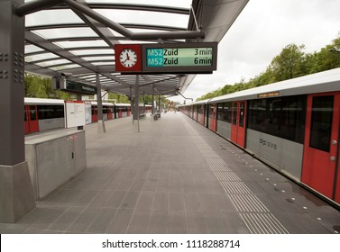 AMSTERDAM , THE NETHERLANDS – MEI 1 , 2018 : Platform of station north of the new north south line in Amsterdam which will be opened on July 22 after years of building.