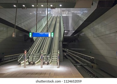 AMSTERDAM , THE NETHERLANDS – MEI 1 , 2018 :  lift of the new north south line in Amsterdam. This metro line will be officially opened on 21 July after years of building with a lot of costs