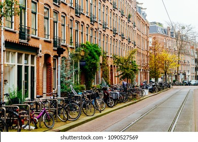 AMSTERDAM, NETHERLANDS - NOVEMBER 08, 2017: Bicycles Parked In Downtown City Of Amsterdam During Autumn