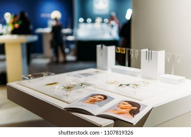 AMSTERDAM, NETHERLANDS - NOVEMBER 09, 2017: MOPHT Minimalist Contemporary Jewelry Display In Store