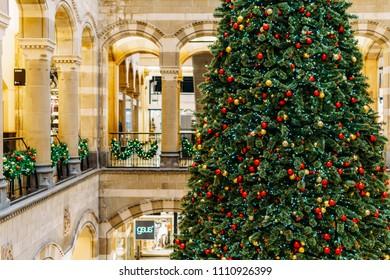 AMSTERDAM, NETHERLANDS - NOVEMBER 14, 2017: Christmas Tree At Shopping Mall During Winter Holiday