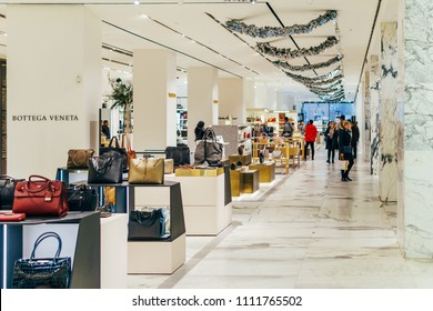 AMSTERDAM, NETHERLANDS - NOVEMBER 14, 2017: People Shopping For Fashion Products In Luxurious Mall Downtown Amsterdam City
