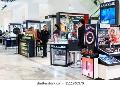AMSTERDAM, NETHERLANDS - NOVEMBER 14, 2017: Women Cosmetic Products For Sale In Beauty Shop
