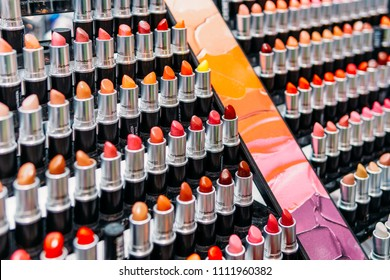 AMSTERDAM, NETHERLANDS - NOVEMBER 14, 2017: Makeup And Cosmetic Products For Sale In Fashion Beauty Department Store Display