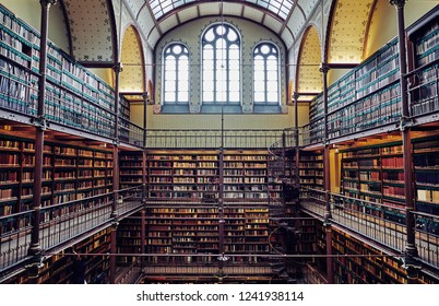 AMSTERDAM, NETHERLANDS - NOVEMBER 19, 2018: Old library to The Rijksmuseum