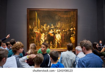 AMSTERDAM, NETHERLANDS - NOVEMBER 19, 2018: The Night Watch is a 1642 painting by Rembrandt van Rijn in The Rijksmuseum