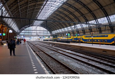 AMSTERDAM, NETHERLANDS - NOVEMBER 19, 2018: Central railway station in the city