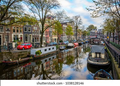 AMSTERDAM, THE NETHERLANDS - NOVEMBER 2, 2017: Venice of the North, capital city, with many canals, islands, bridges having mains: Herengracht, Prinsengracht and Keizersgracht, dug in Dutch Golden Age