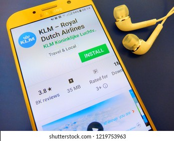 Amsterdam, Netherlands. November 2, 2018 - KLM Royal Dutch airlines application on smartphone screen.