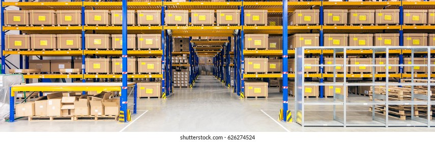 Amsterdam, The Netherlands - November 2014:Interior of warehouse. A warehouse is a commercial building for storage of goods.