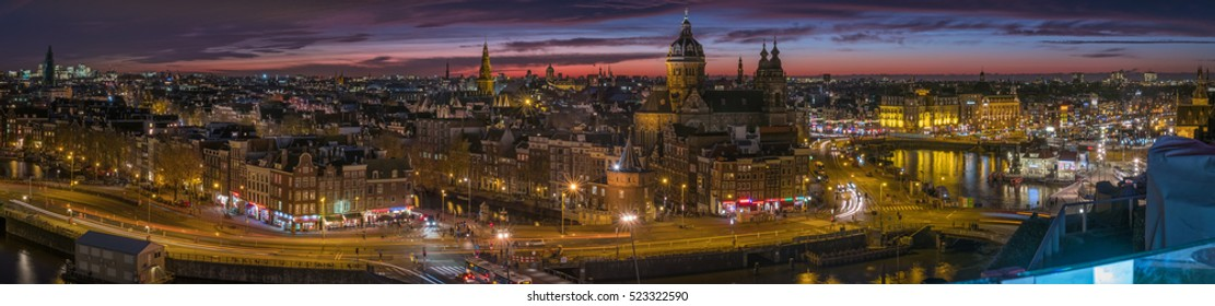 AMSTERDAM, NETHERLANDS - NOVEMBER 22   Panorama during sunset of the city of Amsterdam in the Netherlands, seen from a building close to the Central Station on 22 November 2016.