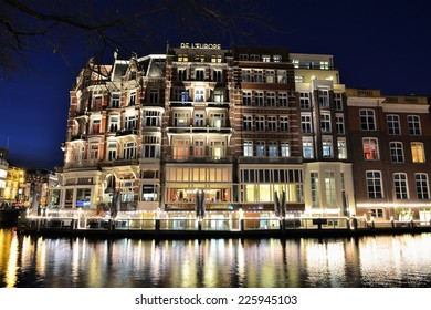 Amsterdam, The Netherlands - November 24, 2013. Hotel de l'Europe is a five-star hotel located on the Amstel river in the centre of Amsterdam, the Netherlands.