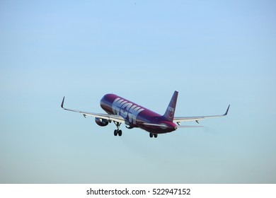 Amsterdam, the Netherlands  - November 25th, 2016: TF-GPA WOW air Airbus A321 taking off from Polderbaan Runway at Amsterdam Airport Schiphol