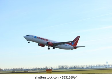 Amsterdam, the Netherlands  - November 25th, 2016: PH-CDH Corendon Dutch Airlines Boeing 737 taking off from Polderbaan Runway at Amsterdam Airport Schiphol