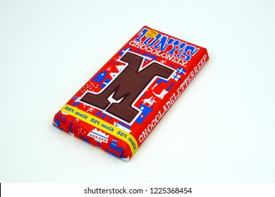 Amsterdam, The Netherlands - November 9, 2018: Package of Tony's Chocolonely letter M.