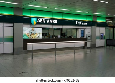 AMSTERDAM, THE NETHERLANDS - NOVEMHER 19,2017: ABN bank office for money matters at an airporton november 19 , 2017 in Amsterdam, Holland